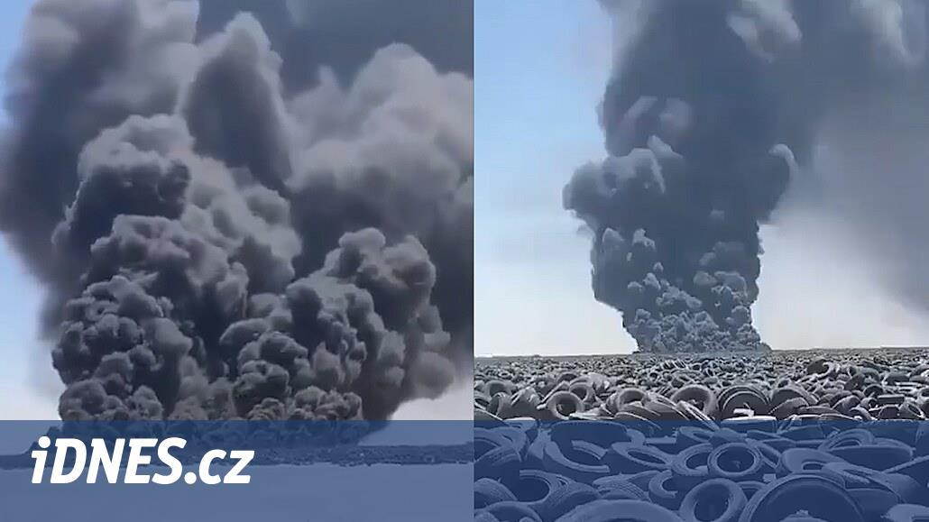 VIDEO: V Kuvajtské poušti hoří největší skládka pneumatik na světě