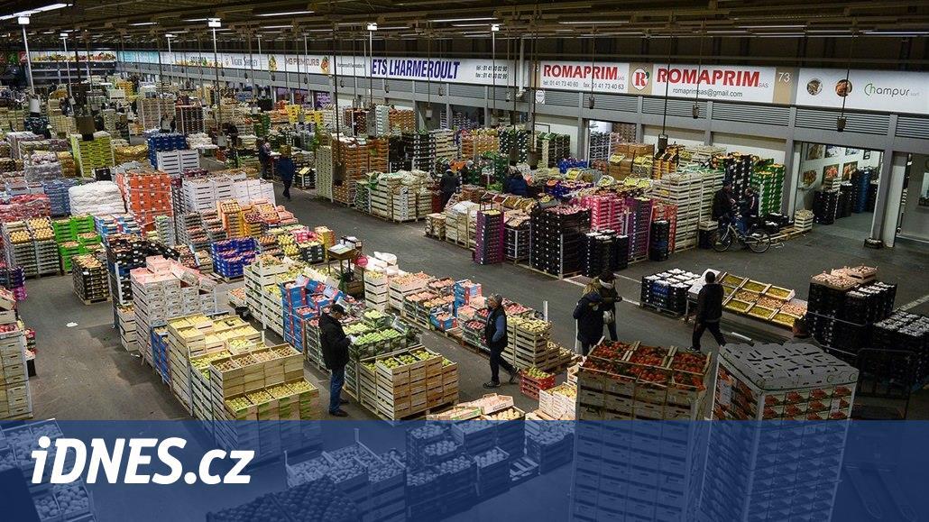Francouzi svážejí oběti do chlazené haly tržiště. Poblíž se dál nakupuje
