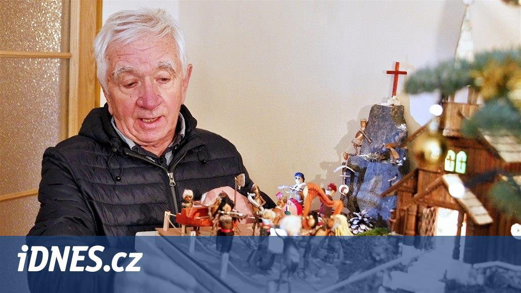 Rok vyráběl betlém z žaludů. Je v něm herečka Čvančarová i houslista Šporcl