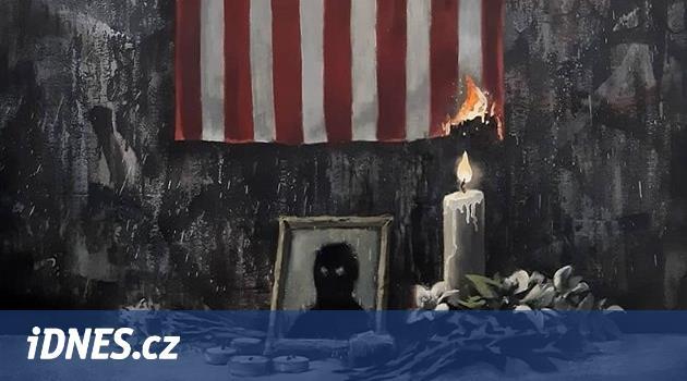 Banksy ve svém díle podpaluje americkou vlajku a zastává se černochů
